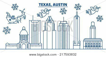 USA, California, Austin  winter city skyline. Merry Christmas and Happy New Year decorated banner. Winter greeting card with snow and Santa Claus. Flat, line vector, linear christmas illustration