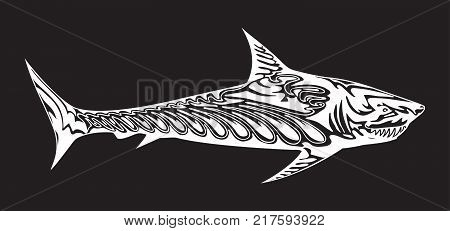 Decorative stylized predator fish. White silhouette of shark on black background. Vector illustration for emblem or logo.
