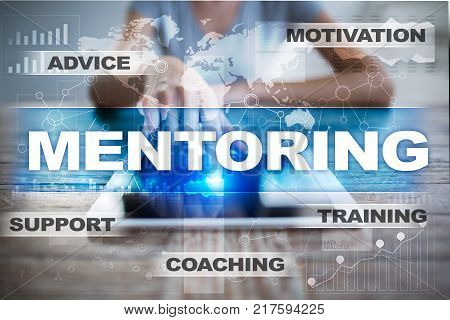 Mentoring on the virtual screen. Education concept. E-Learning. Success