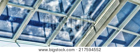 Square shot, vintage. closeup. The shopping center, business center, glass ceiling with window
