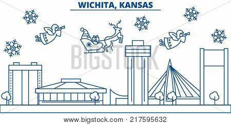 USA, Kansas , Wichita  winter city skyline. Merry Christmas and Happy New Year decorated banner. Winter greeting card with snow and Santa Claus. Flat, line vector, linear christmas illustration
