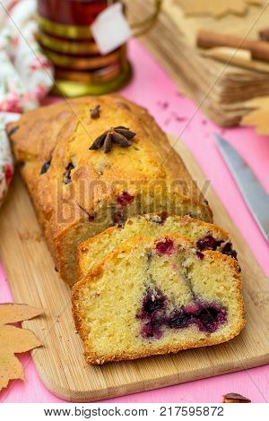Sweet fruit cake with frozen berries and spices for tea