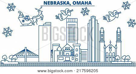 USA, Nebraska , Omaha  winter city skyline. Merry Christmas and Happy New Year decorated banner. Winter greeting card with snow and Santa Claus. Flat, line vector, linear christmas illustration
