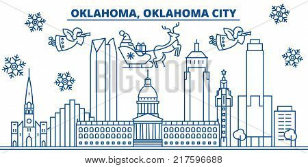 USA, Oklahoma , Oklahoma City  winter city skyline. Merry Christmas and Happy New Year decorated banner. Winter greeting card with snow and Santa Claus. Flat, line vector, linear christmas illustration