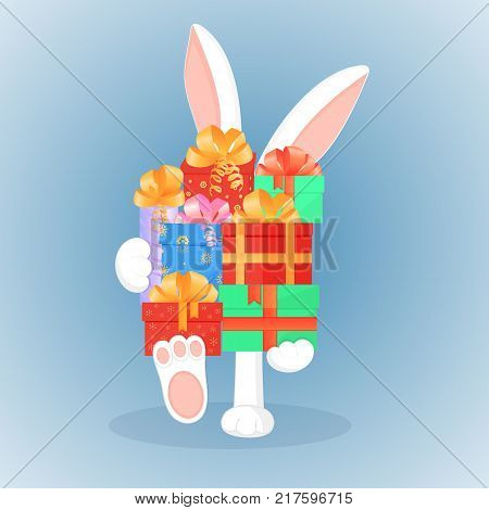Easter bunny keeps a big mountain of gifts. The concept of the sale for Christmas, New Year, Boxing day