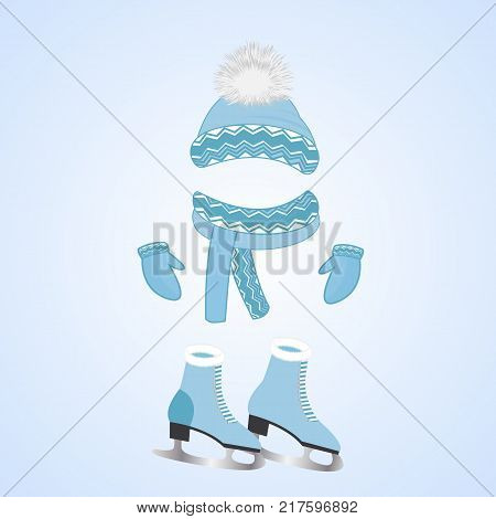 A hat with a fluffy pompon, a scarf, mittens. Skates with fur. Winter sports day