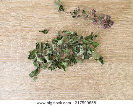 Culinary herb, dried wild marjoram, Origanum vulgare