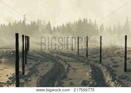 3d rendering of winter landscape with snow trails and fog