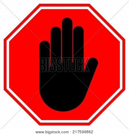 STOP HAND sign. NO ENTRY gesture in red octagon. Isolated icon.