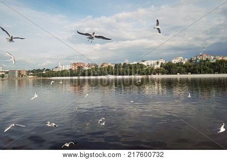 Perm, Russia - June 2017. The project is traveling in Russia. Kama river, Ural, view from the river to the city Perm, summer time