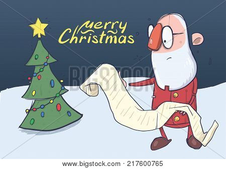 Christmas card of funny hatless Santa Claus in glasses reading a long scroll next to the Christmas tree. Vector character illustration.