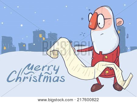 Christmas card of funny hatless Santa Claus in glasses reading a long scroll. City landscape on the background. Vector character illustration.