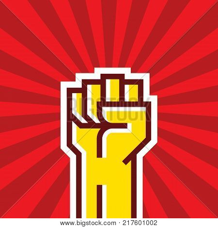 Human hand Up Proletarian Revolution - Vector Illustration Concept in Soviet Union Agitation Style. Fist of revolution creative sign. Red background. Graphic design element.
