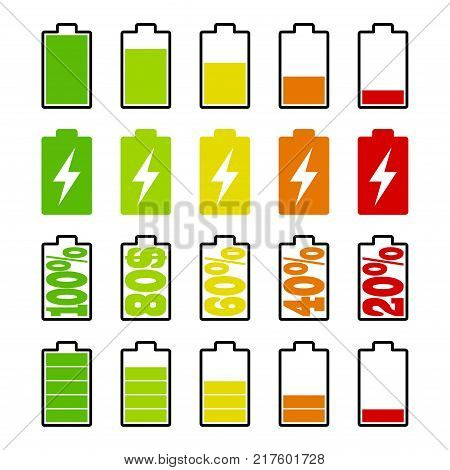 Set of battery charge level indicators on white background. Cell phone, smartphone electric charge, battery energy icons. Vector illustration