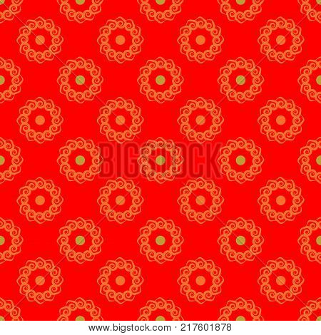 Polka dot flower chaotic seamless pattern. Fashion graphic background design. Modern stylish abstract texture. Colorful template for prints textiles wrapping wallpaper. VECTOR illustration