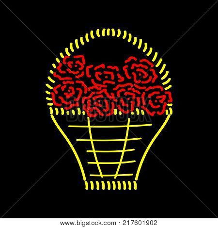 Basket with roses sign. Image of handmade weave. Color icon isolated on white background. Red seven roses in decorative wicker gold basket for gift. Logo for invitation. Stock vector illustration
