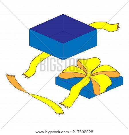Open gift box with bow sign. Logo for holiday celebration. Image of elegant present. Beautiful colorful icon isolated on white background. Surprise symbol. Mark of decoration for gift. Stock vector