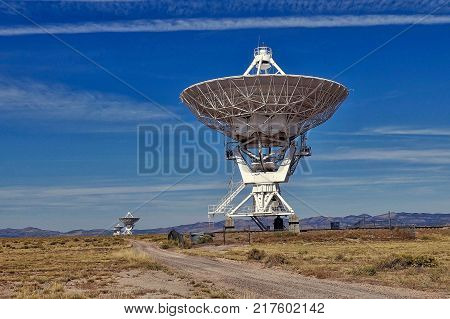 San Agustin, USA, 2017.10.17: A few of the telescopes at the Very Large Array Radio Telescope at San Agustin in the USA.