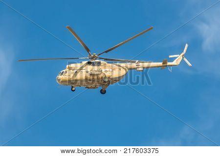 El Qantara Egypt - November 5 2017: A Mil Mi-8 Hip helicopter patrolling the Suez Canal in Egypt.
