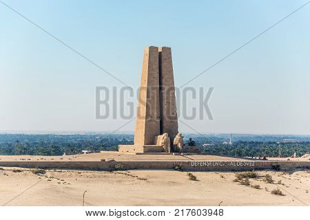 Ismailia Egypt - November 5 2017: Suez Canal Defence Monument at Ismalia Commerating the Defence of the Canal against the Turkish during the Great War1914 to 1918.