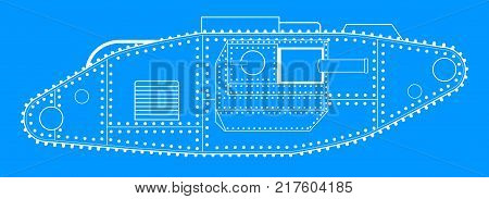 An early World War One tank blue print line drawing over a white background