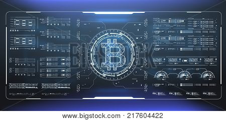 Bitcoin technology abstract visualization. Futuristic aesthetic design. Bitcoin background with HUD elements. Futuristic user interface ellements for web an app.