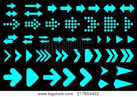 A set of silhouettes arrows Vector illustration.