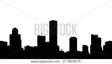 Vector illustration the silhouette of the town.