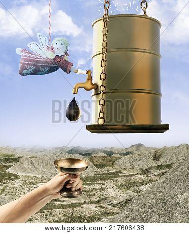 Golden oil barrel. Manna falling from heaven in desert. Angel measures oil. Oil production. Concept.