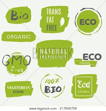 Healthy Food Icons, Labels. Organic Tags. Natural Product Elements. Logo For Vegetarian Restaurant M