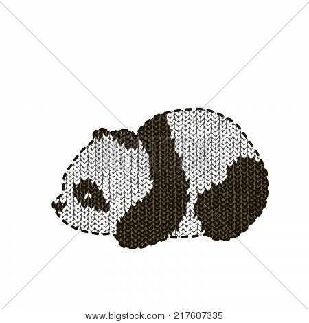 Vector illustration with cute panda on a knitting background. Image of panda.knitted panda
