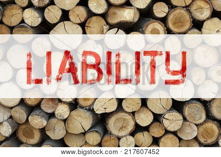 Conceptual announcement text caption inspiration showing Liability Business concept for Accountability Legal Blame Risk written on wooden background with space