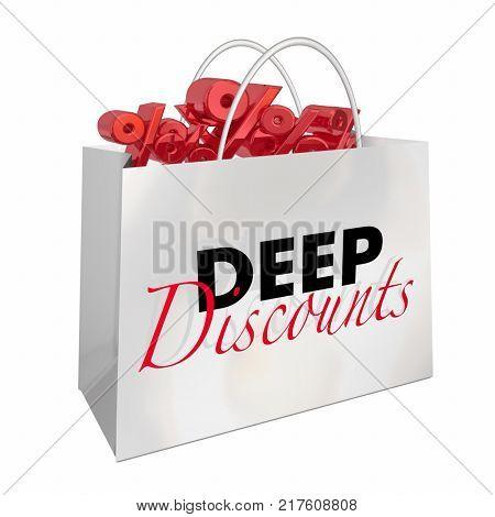 Shopping Bag Deep Discounts Sale Deal Bargain Prices 3d Illustration