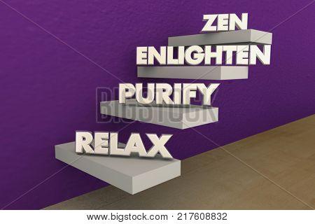 Zen Steps Levels Relax Purify Enlightenment 3d Illustration