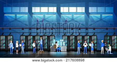 People Working In Data Center Room Hosting Server Computer Monitoring Information Database Flat Vector Illustration.