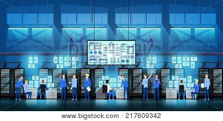 IT engineers in big data center work on new technology government project with server rooms and computers