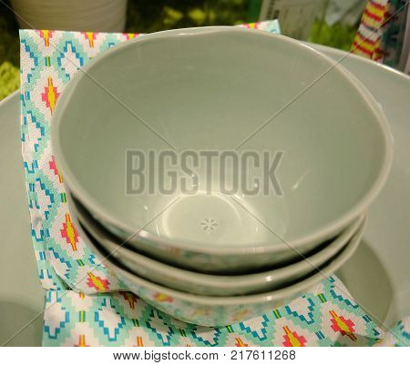 Kitchen Utensil Collection of Green Porcelain Bowls and Plates Preparing for Serve Hot and Cold Food.