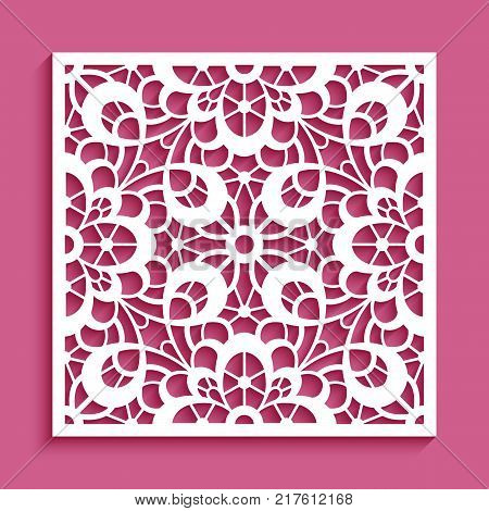 Decorative panel with lace pattern, square ornament for laser cutting or wood carving, cutout paper decorative element, elegant vector background for wedding invitation card