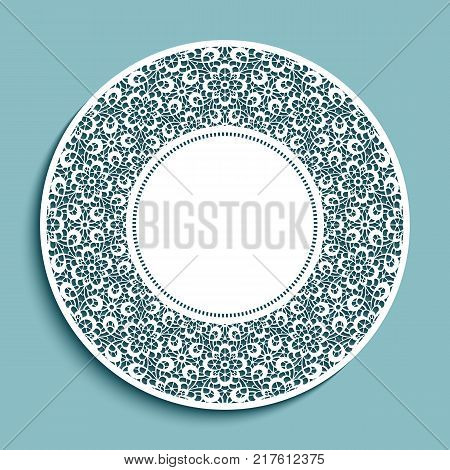 Circle label with lace border ornament, vector cutout paper badge, swirly round decoration for laser cutting or wood manufacturing