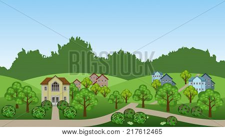 Village summer landscape scene. Cartoon background with town houses hills trees and bushes can be used in game asset. Horizontally seamless vector illustration