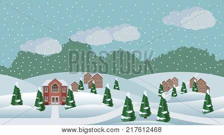 Village winter Christmas landscape scene. Cartoon background with town houses hills and conifer trees in snow can be used in game asset. Horizontally seamless vector illustration