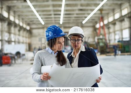 Group portrait of concentrated investor and industrial engineer wearing hardhats gathered together at spacious production department of modern plant and studying blueprint
