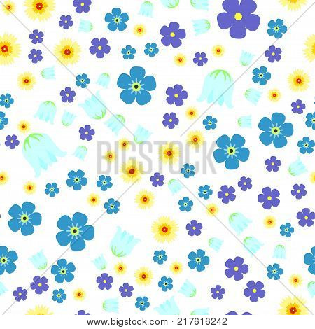 Seamless pattern with forget-me-not flowers,  lily of the valley, lilacs on white background. For print, wrapping or wallpaper.