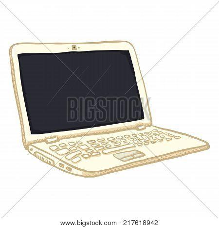 Vector Single White Cartoon Laptop PC on White Background