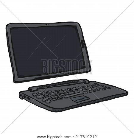 Vector Cartoon Gray Transformer Laptop. Tablet and Keyboard