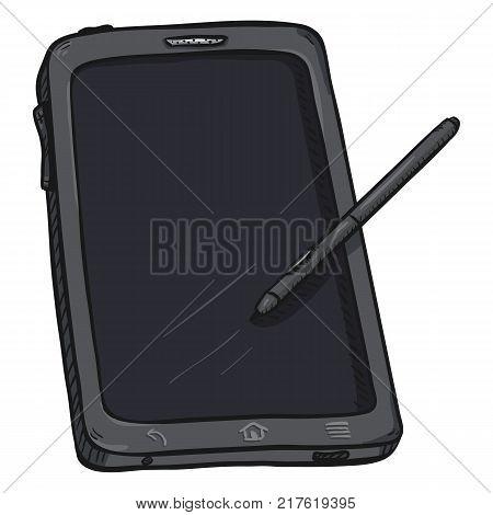 Vector Single Cartoon Gray Tablet PC with Stilus