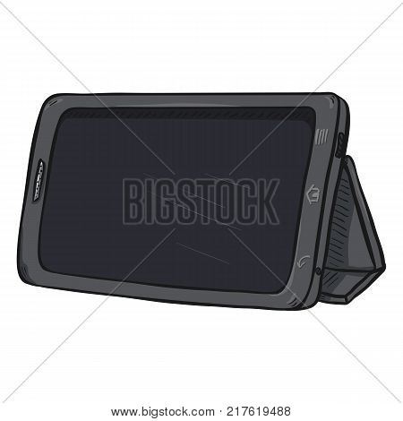 Vector Cartoon Gray Tablet PC with Foldable Stand