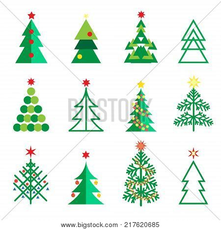 Christmas fir tree different abstract geometric icons set. Fir tree isolated on white for Happy New Year, Christmas Winter Holiday decoration fir tree, snowflake christmas balls, star, gift, symbols, web vector