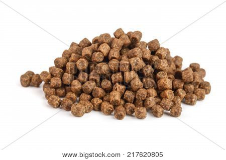 dry cat food isolated on white background.