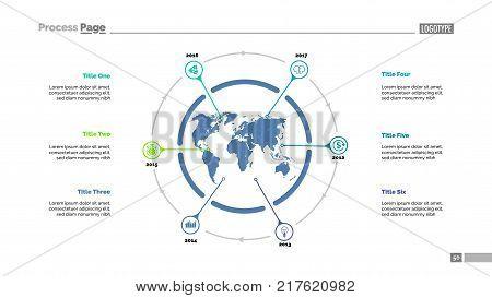Six World Map Items Process Chart Slide Template Business Data Timeline Point